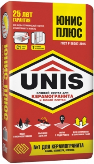 Клей для плитки Юнис Плюс (25кг)