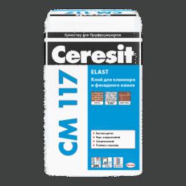 Эластичный клей для фасадной плитки, керамогранита и облицовочного камня  Ceresit CM 117  (25кг)